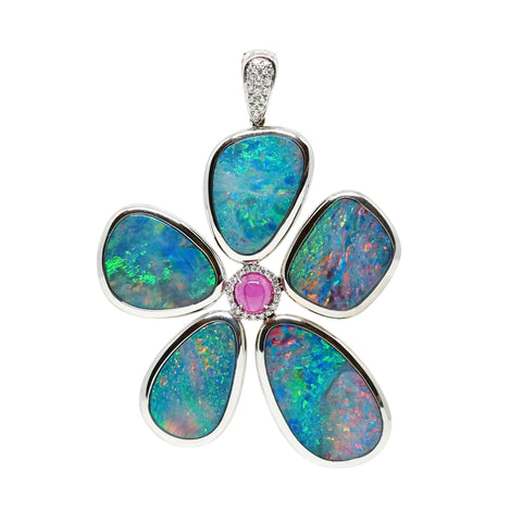 Floating Islands Collection - Opal and Rubellite Diamond White Gold Pendant