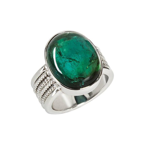 Green Tourmaline Braid Style Ring
