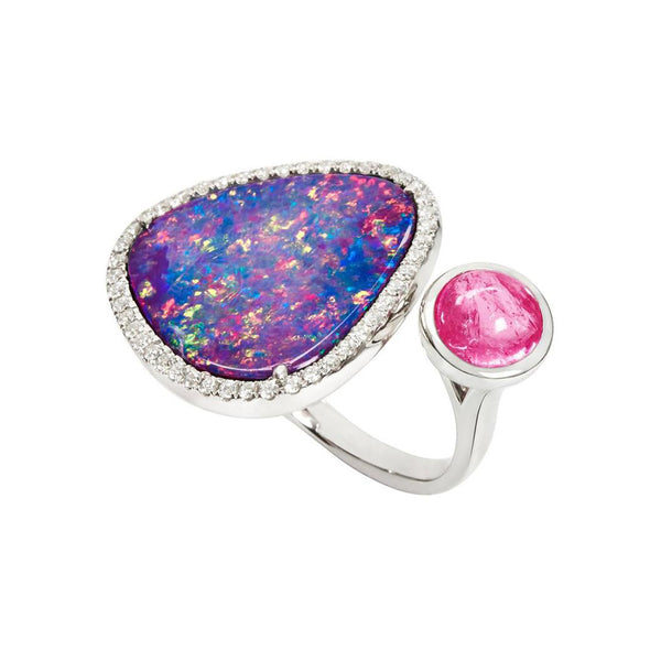 Floating Islands Collection - Bushfire Opal, Rubellite and Diamond Duette Ring