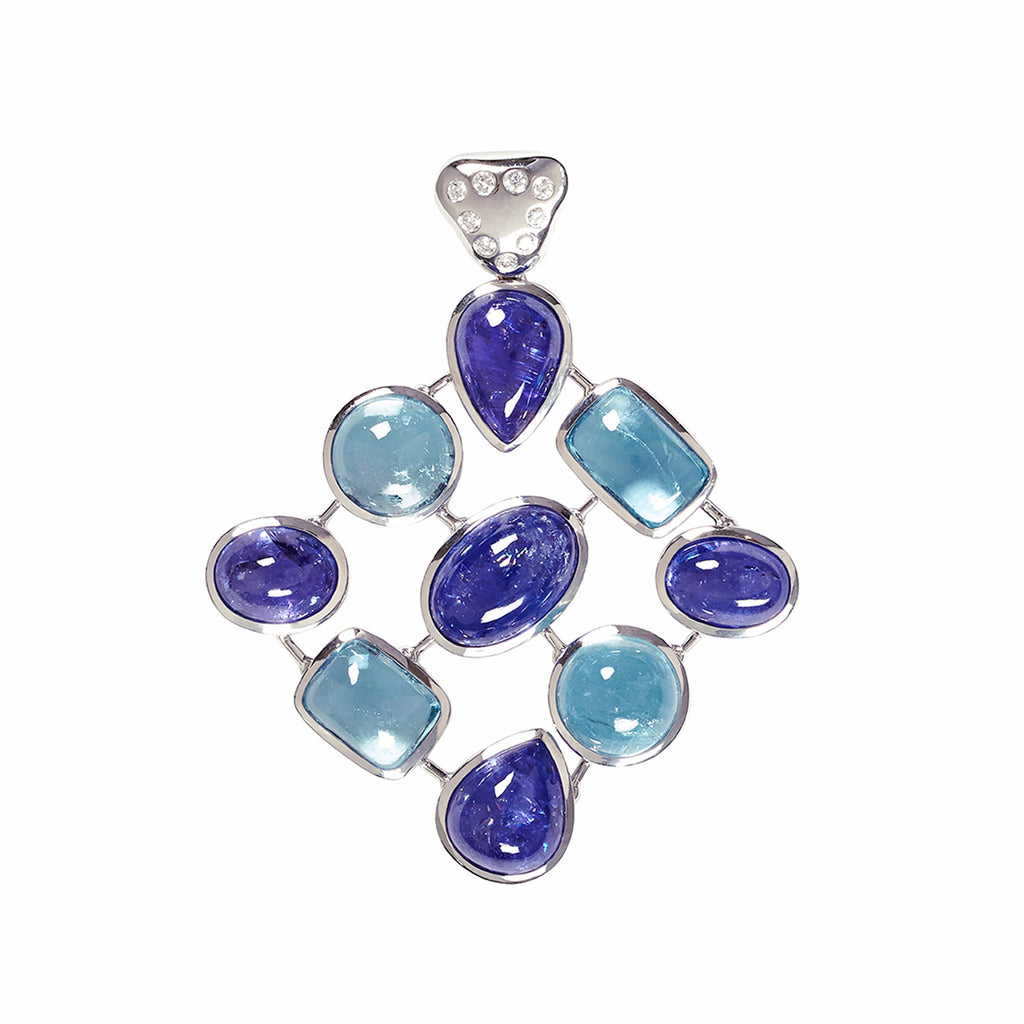 Aquamarine, Tanzanite and Diamond Cobweb Pendant