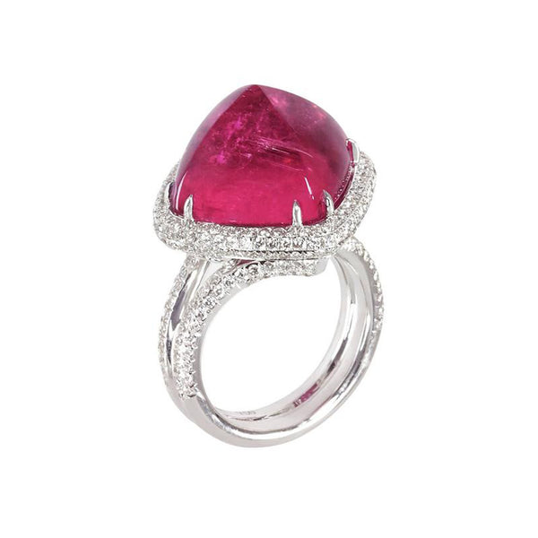 Rubellite Sugarloaf and Diamond Ring