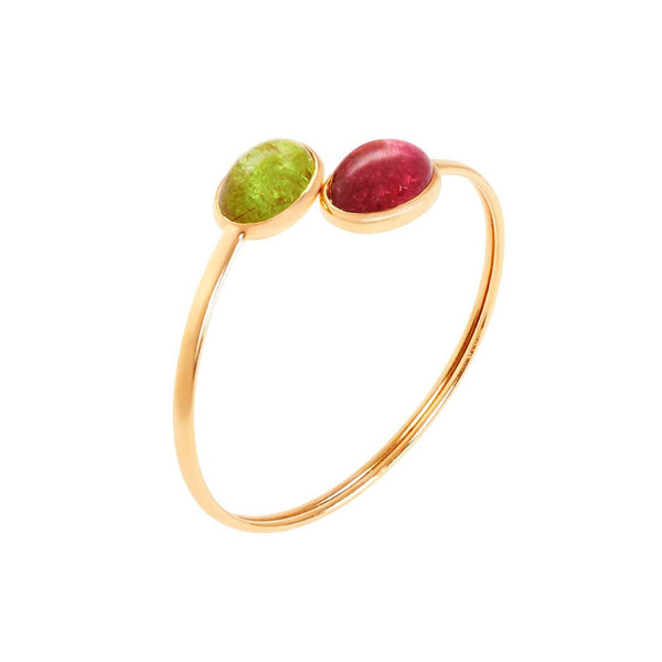 Cabochon Lime and Pink Tourmaline Bangle