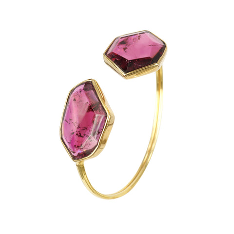 Pink Tourmaline slice bangle