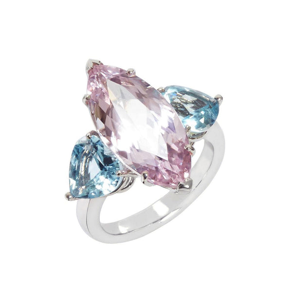 Kunzite and Aquamarine Trio Ring