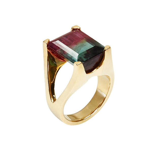 Watermelon Tourmaline Mahjong Ring