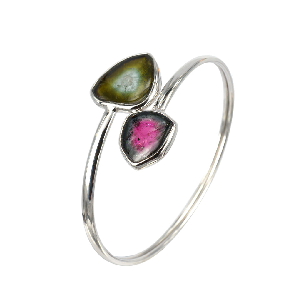 Watermelon and Strawberry tourmaline slice bangle