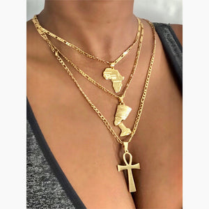 Ankh necklace , mini africa necklace and Nefertiti necklace set, ancient egypt jewelry necklace, gold ankh nefertiti africa necklace men