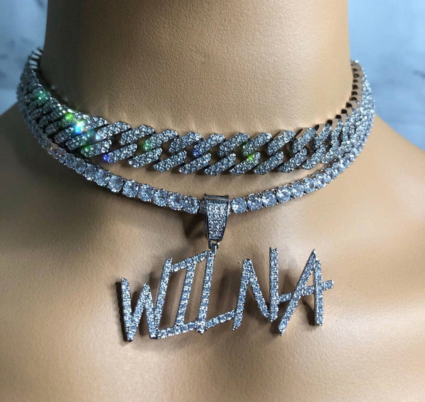 3 piece Icy bling nameplate , luxury name plate  necklace ,bling women nameplate necklace,  12mm S-Link Miami Cuban Necklaces