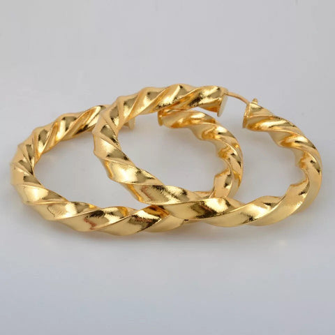 African Hoop Earrings ,Ethiopian Round Twisted Earrings Gold hoop earrings ,18k gold plated hoop earrings , twisted hoop earrings