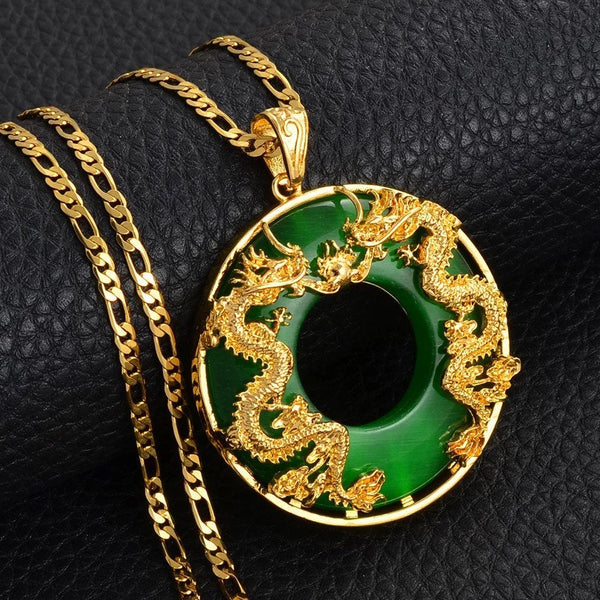 Dragon Pendant Necklace, 18k gold plated Men Jewelry Chinese Style Artificial Green Jade Good Luck Happiness