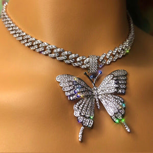 Butterfly 9mm cuban choker chain necklace , blinged iced cuban butterfly necklace