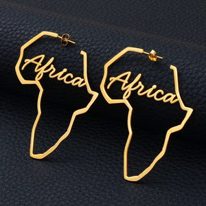 Africa  hoop earring , africa map hoop earrings, african earring hoops, nigerian jewelry,ethnic earring,tribal earring ,African gold earri