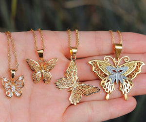 4 PIECE SET 18k gold plated Butterfly Necklaces, butterfly pendant necklace , butterfly choker, charm butterfly necklace ,