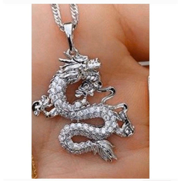 SILVER Dragon necklace , 18k gold plated dragon pendant , dragon charm , dragon jewelry ,fantasy necklace men