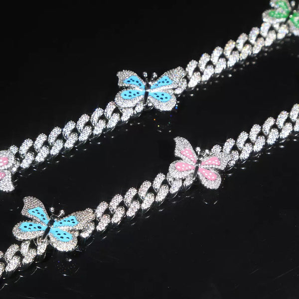 colorful butterfly cuban choker chain necklace , blinged iced cuban butterfly necklace , Micro Paved 12mm S-Link Miami Cuban Necklaces