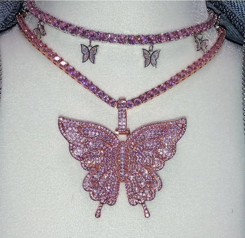 3 piece SET pink  cuban  butterfly tennis choker , cz tennis butterfly necklace ,cuban bling tennis butterfly, butterfly necklace