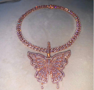 9m Butterfly cuban choker chain necklace , pink cuban choker , butterfly necklace, butterfly pendant