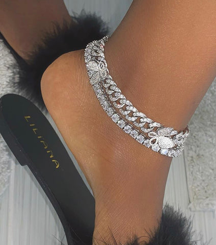 2 piece set butterfly And rhinestone anklet