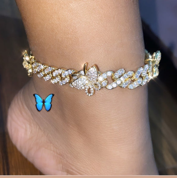 9mm Cuban BRACELET or ANKLET With Butterfly 9inch