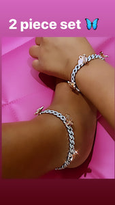 Pink and white 2 piece anklet set