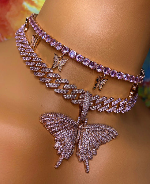 Butterfly cuban choker chain necklace , blinged iced cuban butterfly necklace , Micro Paved 12mm S-Link Miami Cuban Necklaces