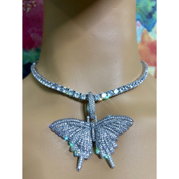 SALE Iced butterfly necklace , bling butterfly , butterfly tennis necklace,tennis necklace and cz butterfly pendant , lavishluxxshop