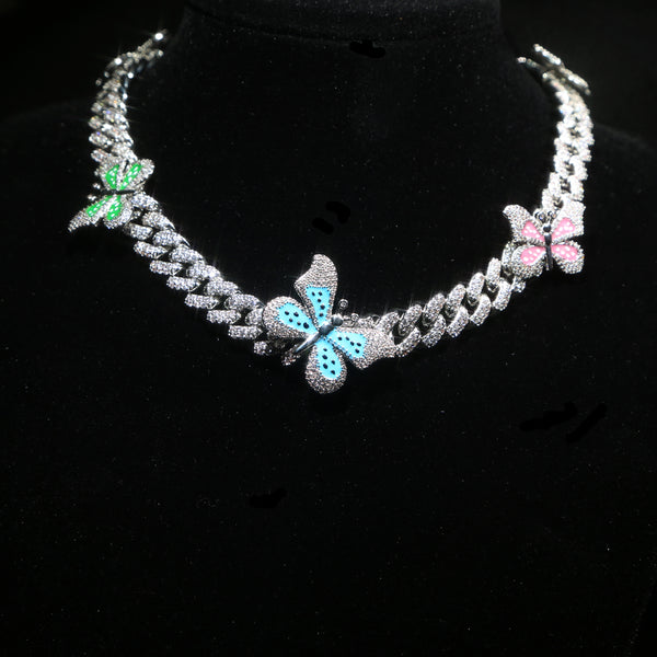 colorful Enamel Butterfly Charm Necklace 12mm Iced Out Bling CZ Miami