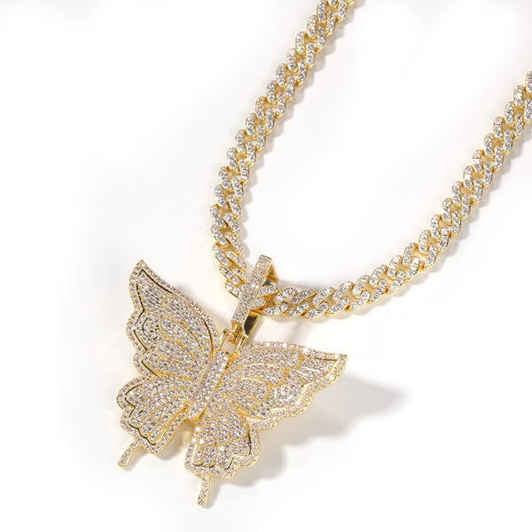 Uwin Butterfly Pink Rosegold CZ Pendant With 9mm Iced Out Cuban Chain Micro Pave Cubic Zircon Necklace Jewelry For Gift