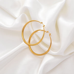 18k gold plated 6 CM Hoop Earrings for Women Gold