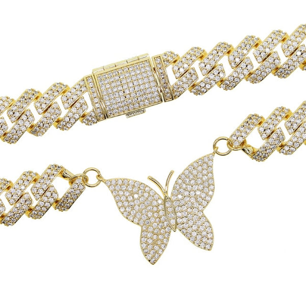 high quality iced out micro pave 5A cz 12mm cuban link chain single butterfly charm choker necklace gold silver color jewelry