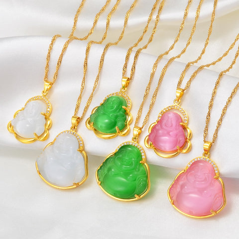 Anniyo Buddha Pendant Necklaces Women Pink/White/Green Amulet Chinese Style Maitreya Charms Jewelry Style Christmas Gift #242606