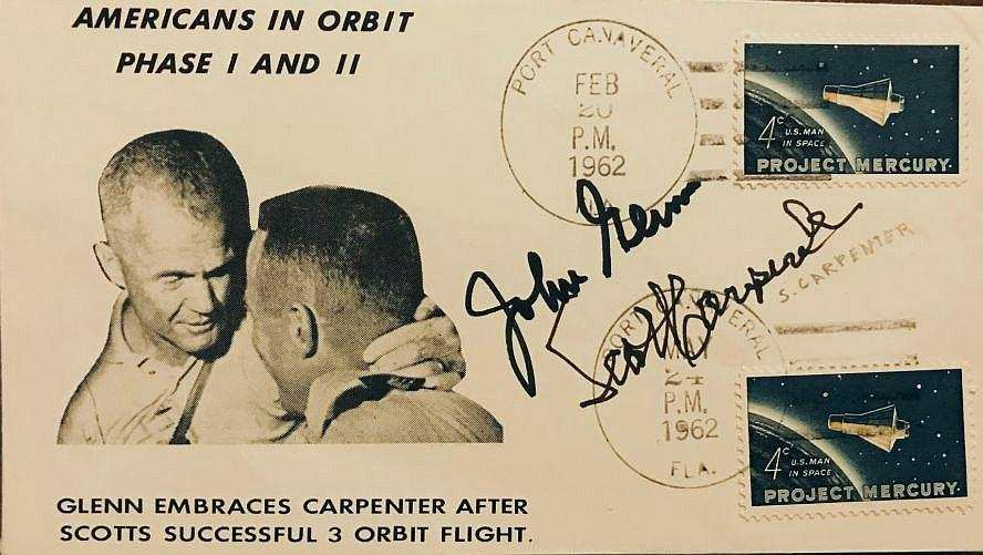 'AMERICANS IN ORBIT, PHASE 1 AND 2', COVER, SIGNED BY BOTH GLENN AND CARPENTER