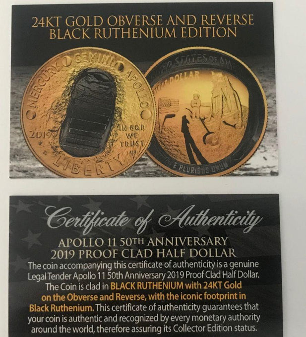 2019 Apollo 11 Clad Commemorative Half Dollar Proof w/24K Gold & Black Ruthenium