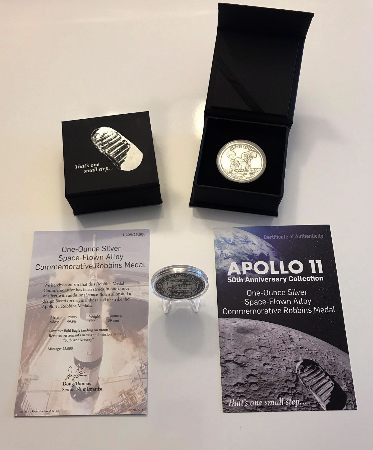 Apollo 11 50th Anniversary Collection 1oz Silver With Space Flown Alloy Uncirculated Antiqued