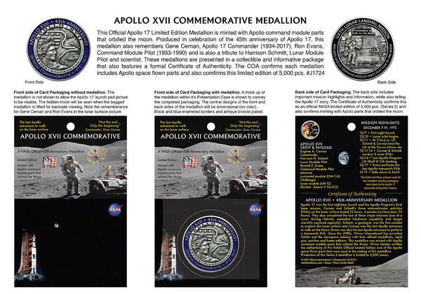 APOLLO XVII LIMITED EDITION MEDALLION - SERIES 2