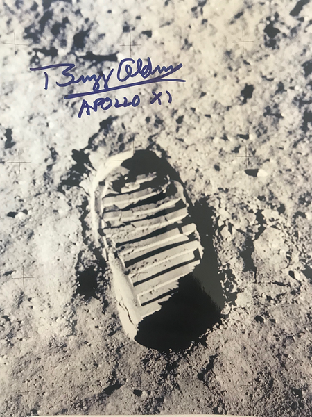 "Buzz Aldrin's 'Bootprint on the Moon'  8"" x 10"" - Autographed Photo"