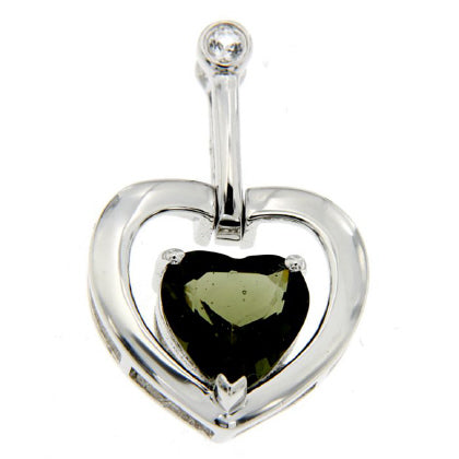 Moldavite Heart with White Topaz Accent Pendant, Sterling Silver - The Space Store