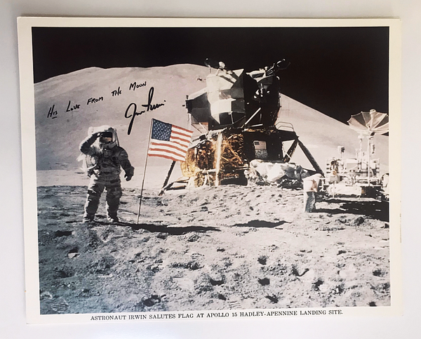 JIM IRWIN AUTOGRAPHED APOLLO 15 FLAG SALUTE