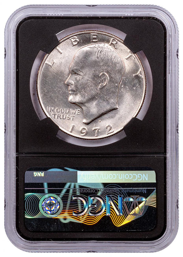 1972-D Eisenhower Dollar NGC MS65 From Mint-Sealed Bag w/Black Core & Charlie Duke Signature