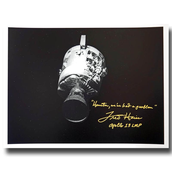 "FRED HAISE SIGNED, LARGE 17"" X 13'' ""HOUSTON WE'VE HAD A PROBLEM"" - The Space Store"