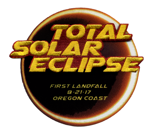 TOTAL SOLAR ECLIPSE 2017 PATCH - 'FIRST LANDFALL 8-21-17 OREGON COAST' Version