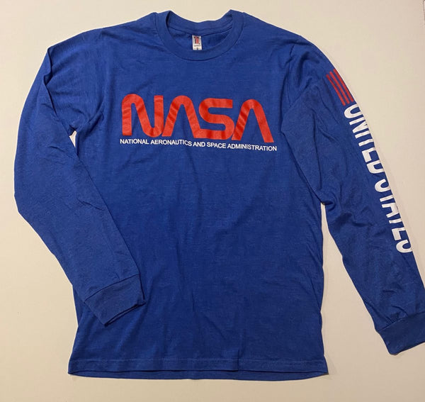NASA Worm Logo Long Sleeve Shirt with United States and USA Flag Logo