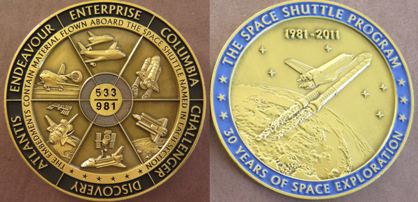 Space Shuttle medal with VISIBLE flown material from all 6 Space Shuttles - The Space Store
