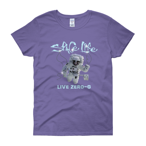 SPACE LIFE - LIVE ZERO-G  Ladies Short Sleeve Scoop Neck - The Space Store