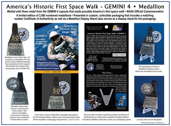 AMERICA'S FIRST SPACE WALK - GEMINI 4 MEDALLION - The Space Store