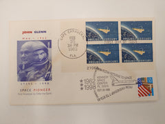 JOHN GLENN 'SPACE PIONEER' COVER. MA-6 STAMP AND STS-95 STAMP