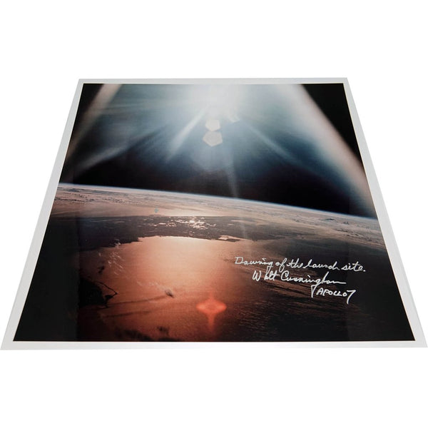 WALT CUNNINGHAM SIGNED 17'' X 17''LAUNCH SITE GLOSSY ANNOTATED