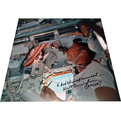 WALT CUNNINGHAM SIGNED 12'' X 12'' APOLLO 7 INFLIGHT GLOSSY ANNOTATED