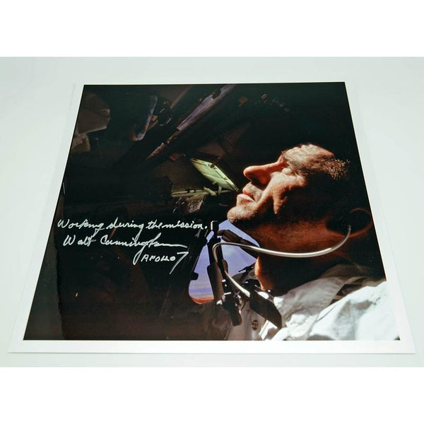 WALT CUNNINGHAM SIGNED 12'' X 12'' INFLIGHT GLOSSY ANNOTATED 2 - The Space Store
