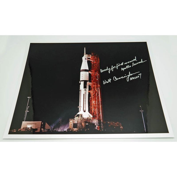WALT CUNNINGHAM SIGNED 16'' X 13'' LAUNCH GLOSSY ANNOTATED - The Space Store